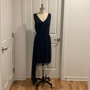 ST. JOHN Navy Chiffon Black Silk Cocktail Dress